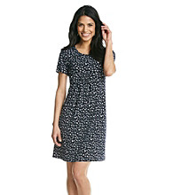 Laura Ashley® Petites' Sketch Dot T-Shirt Dress