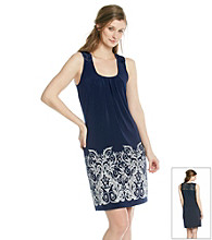 Laura Ashley® Navy Border Print Dress