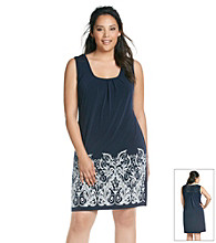 Laura Ashley® Plus Size Navy Border Print Dress