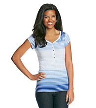 Relativity® Ombre Striped Henley Tee
