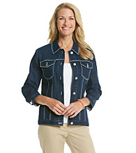 Alfred Dunner® Point Collar Embellished Detail Denim Jacket