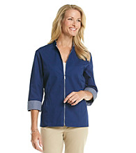 Alfred Dunner® Mandarin Collar Front Zipper Closure Jacket