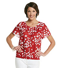 Alfred Dunner® Scoop Neckline All Over Daisy Print Shirt