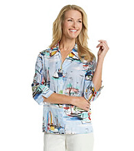 Alfred Dunner® Y-Neckline Button Up Scenic Print Shirt