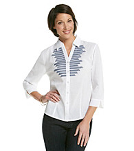 Alfred Dunner® Y-Neckline Button Up Front Pinstripe Trimmed Shirt