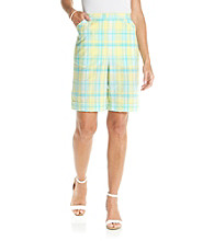 Alfred Dunner® Seersucker Plaid Shorts