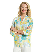 Alfred Dunner® Y-Neckline Button Up Floral Patch Print Shirt