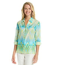 Alfred Dunner® Y-Neckline Button Up All Over Iakt Print Shirt