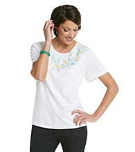 Alfred Dunner® Scoop Neckline Embroidered Floral Shirt