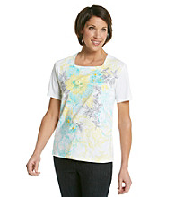 Alfred Dunner® Scoop Neckline Scroll Floral Shirt