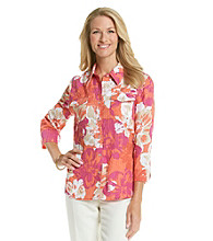 Alfred Dunner® Point Collar Stripe Floral Crinkle Shirt