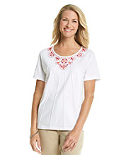 Alfred Dunner® Scoop Neckline Multi Beaded Yoke Shirt