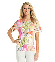 Alfred Dunner® Square Neckline All Over Scenic Printed Shirt