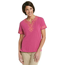 Alfred Dunner® Split Neckline Contrast Embroidered Yoke Shirt