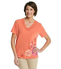 Alfred Dunner® V-Neckline Flower Applique Shirt