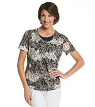Breckenridge® Petites' Short Sleeve Layered-Look Burnout Tee