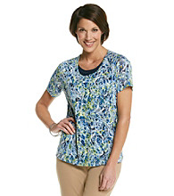 Breckenridge® Petites' Short Sleeve Layered-Look Burn Out Tee