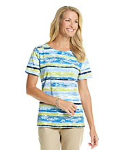 Breckenridge® Short Sleeve Printed Stripe Scoopneck Top
