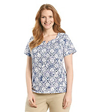 Studio Works® Plus Size Short Sleeve Henley Knit Top