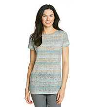Ruff Hewn Short Sleeve Striped Burnout Side Scrunch Tee