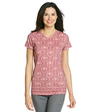 Ruff Hewn Short Sleeve V-Neck Printed Tee With Braided Sides