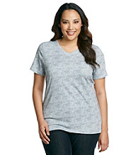 Ruff Hewn Plus Size Short Sleeve V-Neck Printed Tee With Braided Sides