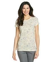 Ruff Hewn Short Sleeve Scoopneck Printed Tee With Braided Sides