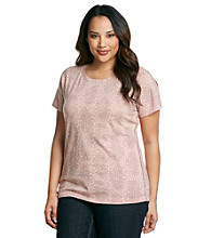 Ruff Hewn Plus Size Short Sleeve Scoopneck Printed Tee With Braided Sides