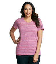 Ruff Hewn Plus Size Short Sleeve V-Neck Burnout Print Tee