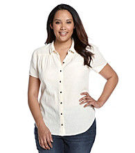 Ruff Hewn Plus Size Short Sleeve Gauze Western Buttondown Shirt