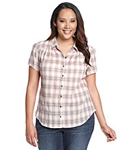Ruff Hewn Plus Size Short Sleeve Plaid Gauze Western Buttondown Shirt