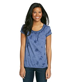 Ruff Hewn Short Sleeve Tie-Dye Embroidered Yoke Blouson Shirt