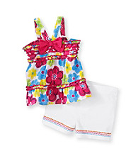 Kids Headquarters® Baby Girls' Pink/Blue 2-pc. Floral Shorts Set