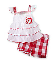 Kids Headquarters® Baby Girls' White/Red 2-pc. Tiered Checked Shorts Set