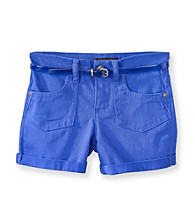 Jessica Simpson Girls' 7-16 Blue Superstar Cuffed Short with Jelly Belt