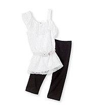 Amy Byer Girls' 7-16 White One-Shoulder Lace Leggings Set