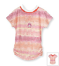 Beautees Girls' 7-16 Orange Striped Burnout Top with Owl Necklace