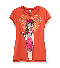 Beautees Girls' 7-16 Orange Heart and Girl Screen Tee