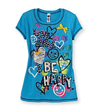 Beautees Girls' 7-16 Blue Love, Smile, Be Happy Screen Tee