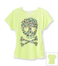 Beautees Girls' 7-16 Neon Yellow Skull Burnout Screen Tee