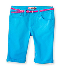 Squeeze® Girls' 7-16 Turquoise Bermuda Shorts with Neon Skinny Belt