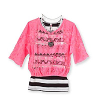 Beautees Girls' 7-16 Neon Pink Crochet Top with Heart Necklace