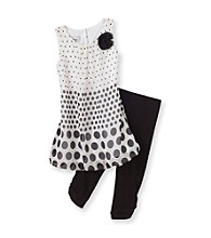 Amy Byer Girls' 4-6X Black/White Border Dot Leggings Set