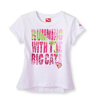 PUMA® Girls' 2T-6X White Big Cats Tee
