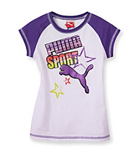 PUMA® Girls' 2T-6X White/Purple Sport Raglan Tee