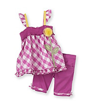 Nannette® Girls' 2T-6X Purple Gingham Top with Bermudas Set