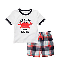 Carter's® Baby Boys' White/Navy Plaid Crab Shorts Set