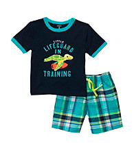 Carter's® Baby Boys' Navy/Turquoise Plaid Turtle Shorts Set