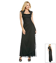 Xscape Long Lace Matte Jersey Dress
