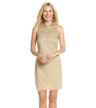 Cachet® Necklace Dress With Sequin Overlay